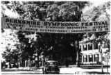 A banner announcing the 1939 Berkshire Symphonic Festival stretches across a tree-lined street...
